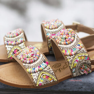 shoes beachy boho colorful detailing beads design sandals multi colored