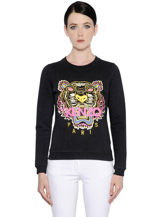 sweatshirt embroidered tiger cotton black sweater