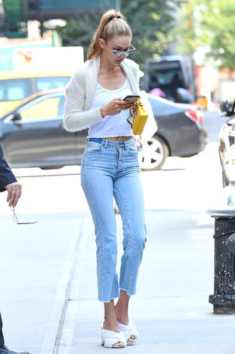 top mules fur jeans gigi hadid style gigi hadid model off-duty streetstyle shoes