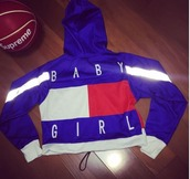 jacket,girl,girly,girly wishlist,red,white,blue,instagram,tumblr,crop,cropped,hoodie,tommy hilfiger,tommy hilfiger jacket,cropped jacket,baby girl,customized