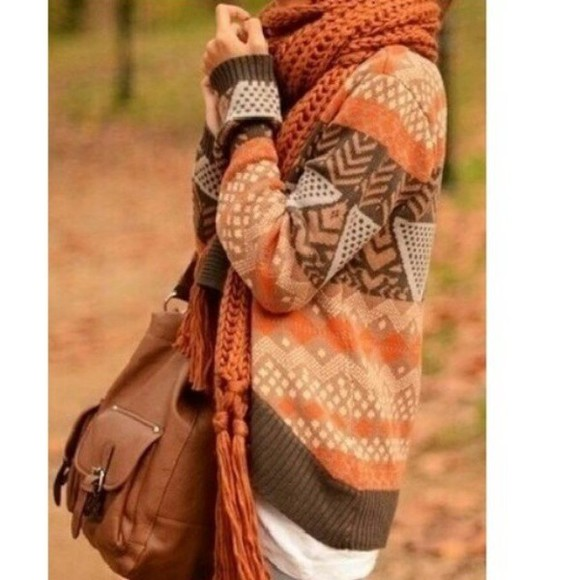 brown sweater winter fall orange warm scarf