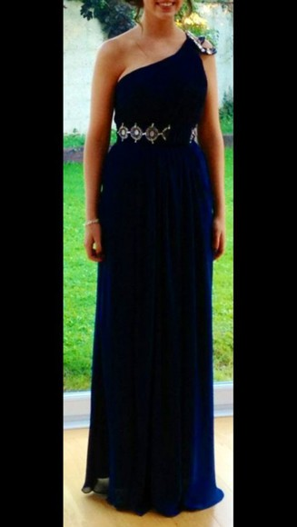navy debs long shoulder jewelled