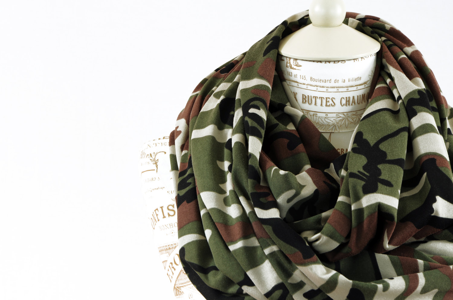 Infinity scarf camo jersey camouflage circle hunter green army drab military