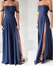 dress,prom dress,leg slit,high leg slit,off the shoulder straps,blue,sweetheart neckline,simple blue elegant prom dress,off the shoulder,off the shoulder dress,blue dress,side split maxi dress,side split dress,prom,evening outfits,long dress,evening dress,bangdage dress rayon,navy dress