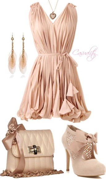 shoes high heels classy cute dress jewels dress bag beige dress bows