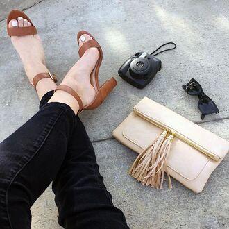 shoes tan heels chunky heel kendall jenner gigi hadid clutch sunglasses fringes sunglass gojane
