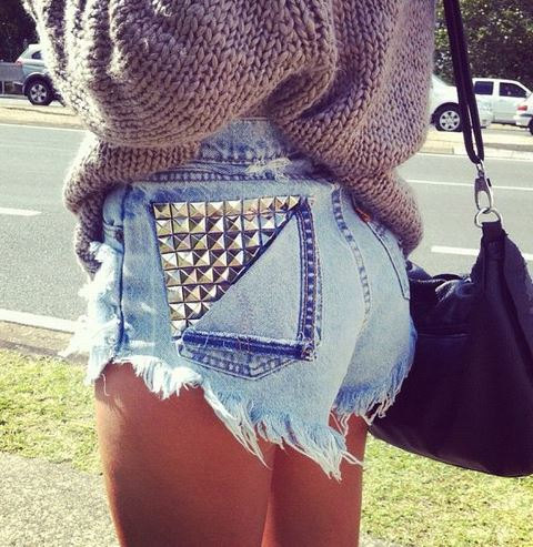 Studded back pocket highwaist shorts by dopebloodexposure on etsy