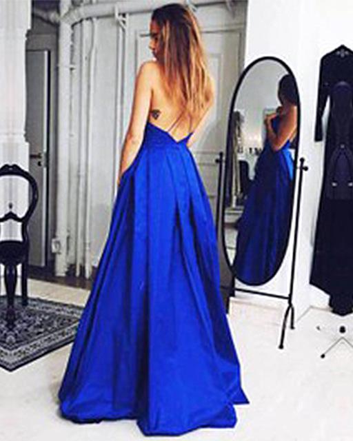Aliexpress.com: Compre 2016 nova Designer simples mancha azul vestidos Sexy Backless A linha De vestidos Vestido De Festa Longo de confiança vestir-se vestidos de meninas fornecedores em Dream Country
