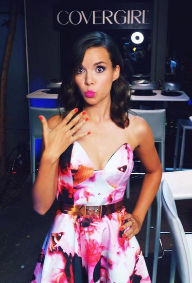 girly strapless ingrid nilsen youtuber covergirl vma block party gold belt floral purple elegant cute dress Strapless Dress