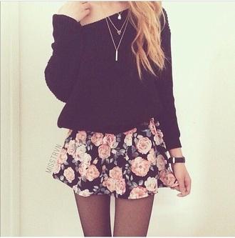 skirt black pink skater skirt cute lovely fashion classy vintage roses