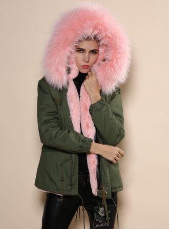 coat pink fur coat winter pink fur jacket pink rose army green vestesenjean