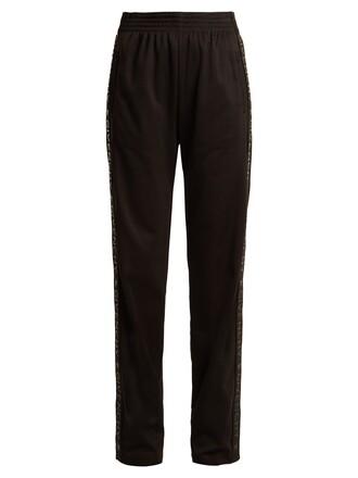 pants track pants print black