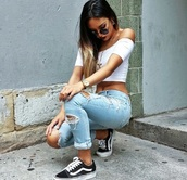 shoes,style,jeans,top,crop tops,white,off the shoulder,grunge,casual,jewels,sunglasses