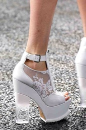 shoes,white,ankle strap,wedges,peep toe,lace,heels,cute,girly,high heels
