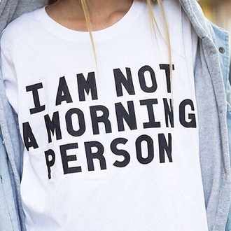 morning cotton pajamas white quote on it graphic tee lazy day www.batoko.com t-shirt blue ey denim black black and white button denim jacket grey sweater grey grey coat coat jacket top