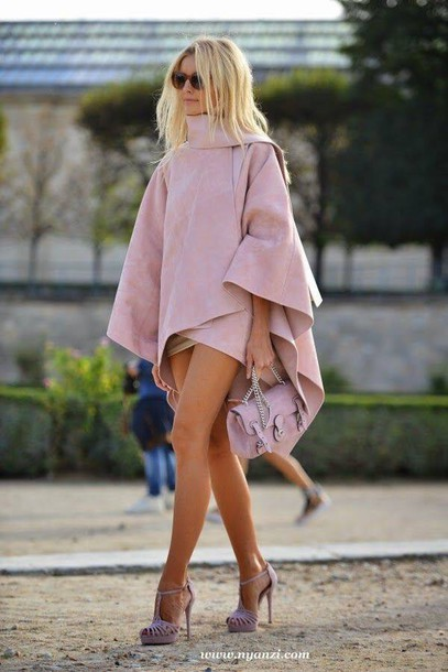 coat capelett cape cape capelett cape blazer cape jacket pink dress shorts dusty pink suede pink bag suede bag