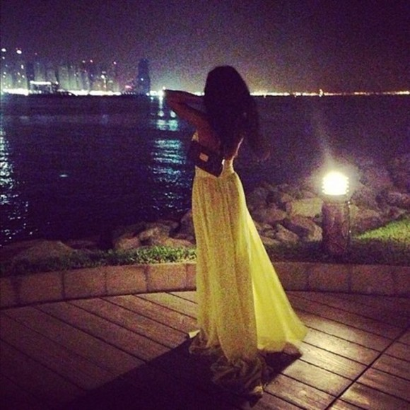 dress evening dress yellow yellow dress long yellow dress yellow chiffon long prom dresses