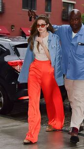 pants,top,gigi hadid,model off-duty,red,red pants,wide-leg pants,jacket,spring outfits