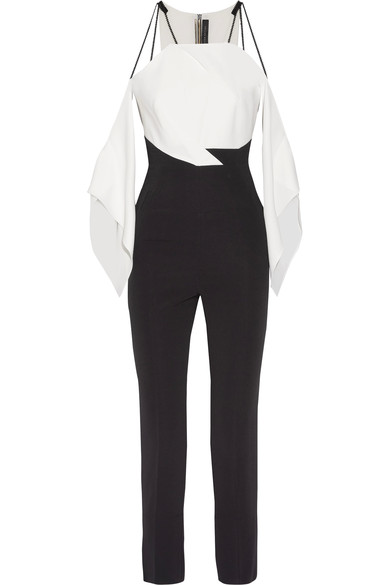 Roland Mouret - Benford cutout two-tone stretch-cady jumpsuit