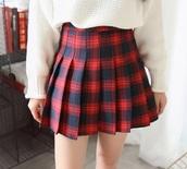 skirt,girly,plaid,plaid skater skirt,pleated,pleated skirt,red,mini,mini skirt,sweater,off-white,oversized sweater