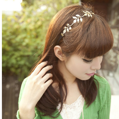Olive Leaves Girls Headband Hair Band Lovely Metallic Elastic Necklace Korean | eBay