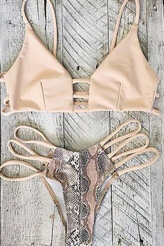 swimwear zaful style nude cream strappy bikini snake print beach summer