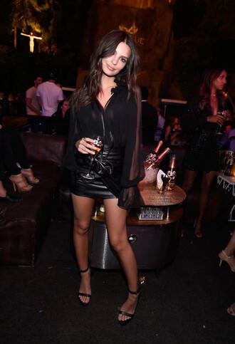 skirt mini skirt all black everything blouse top sandals emily ratajkowski model off-duty sheer