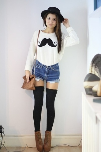 sweater shorts shoes moustache scarf