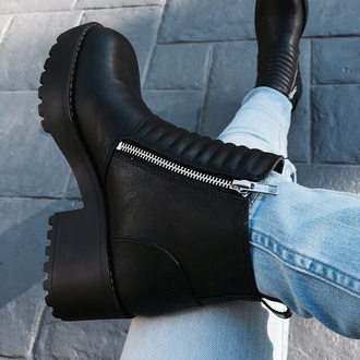 shoes black boots zip groove grooves