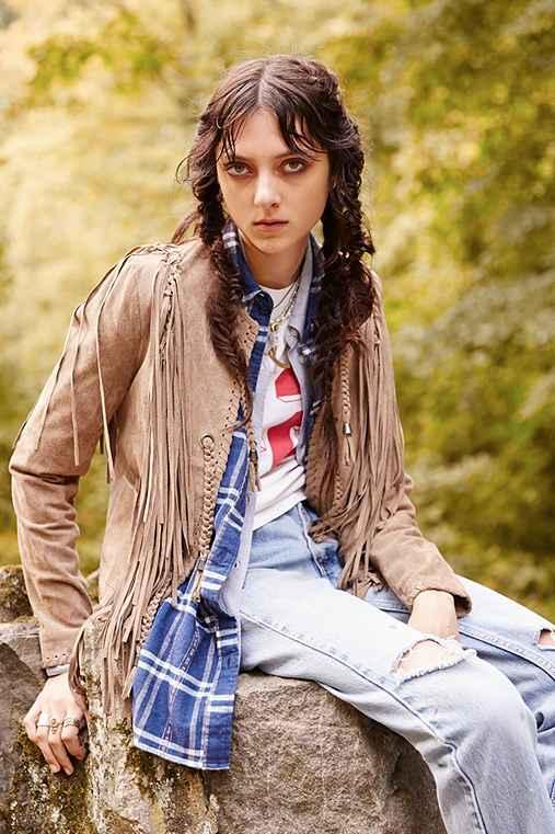 Ecote fringe western suede jacket