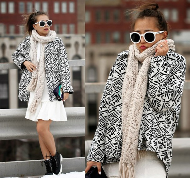 different cands blogger scarf print optical white dress dress bag winter outfits
