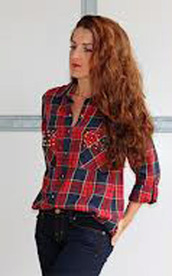 blouse,karo,rivet,red,hipster