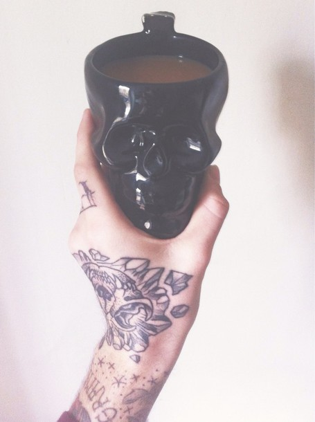 jewels mug coffee skull home accessory hipster halloween decor
