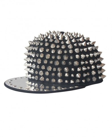 Punk Style Black Canvas Cap with Spikes and Metal Brim