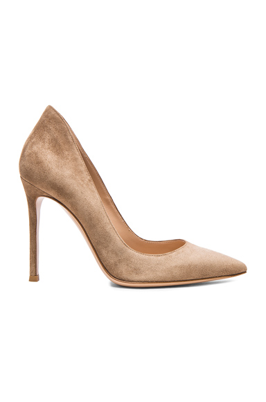 Gianvito Rossi Suede Gianvito Pumps in Bisque | FWRD