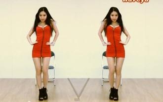 dress black shoes red dress korean fashion zip red