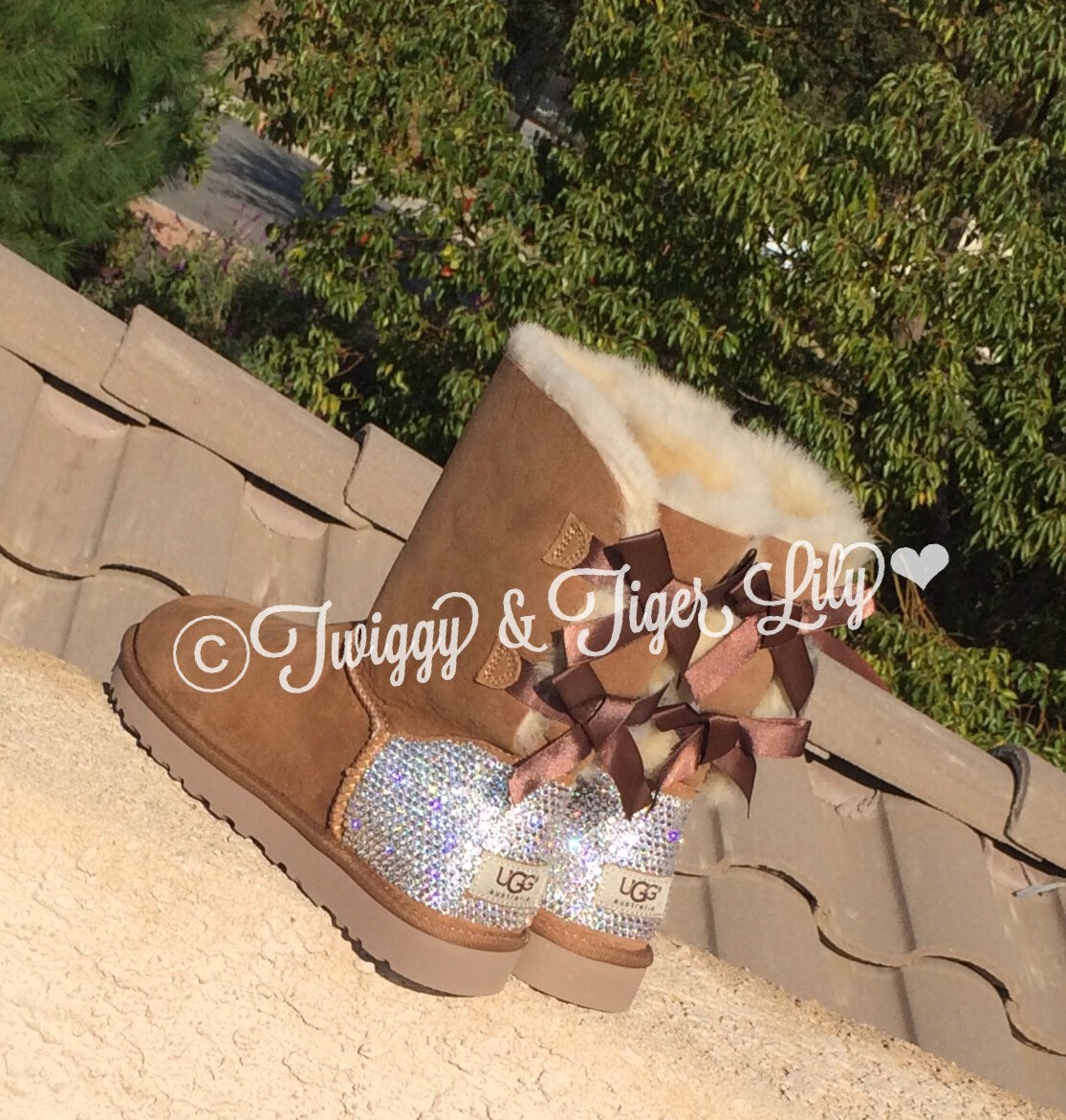 Swarovski crystal embellished chestnut bailey bow uggs