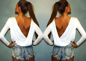 t-shirt white top deep v backless long sleeves sexy
