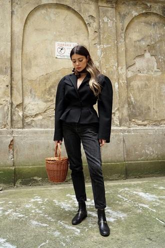 jacket black jacket gucci jeans black jeans denim all black everything shoes bag basket bag