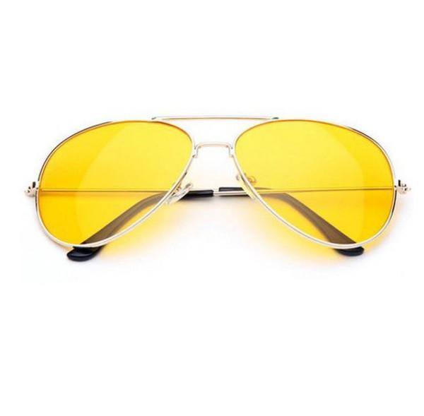 89efaf30b36 Retro Large Metal Aviator Sunglasses With Yellow Driving Lens 9461