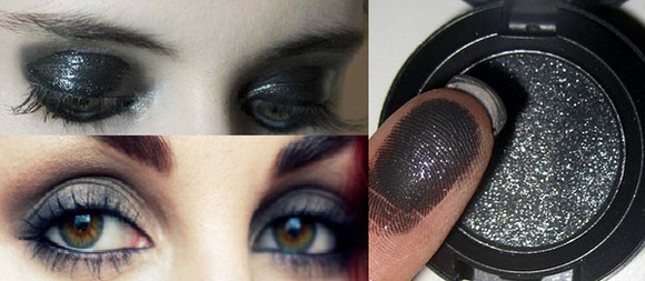 sparkly glittery nail polish make up smoky heavy eye make up black eyeshadow glitter eye shadow dramatic makeup