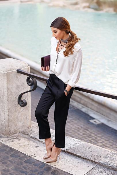 Pants tumblr black pants white shirt silk silk shirt for White shirt black pants