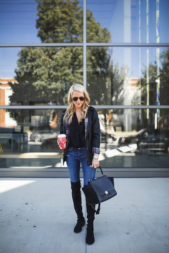 krystal schlegel blogger jacket blouse jeans shoes fall outfits handbag black bag thigh high boots black jacket black shirt