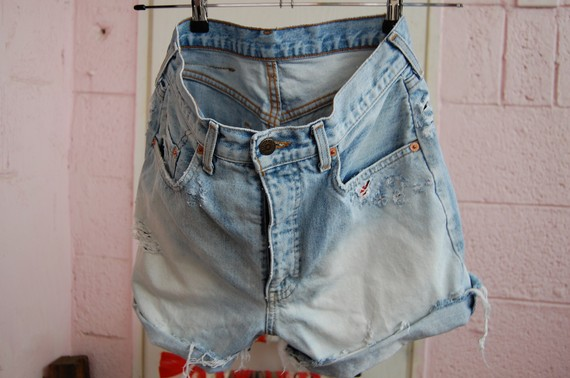 Mid 80s' bleach and red levis cut offs by deadenim on etsy