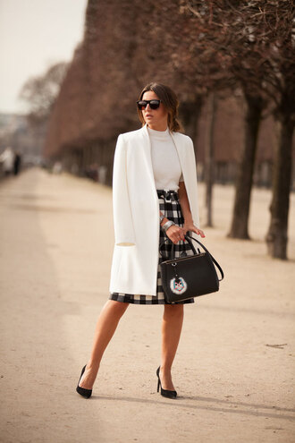lovely pepa blogger white coat gingham black bag