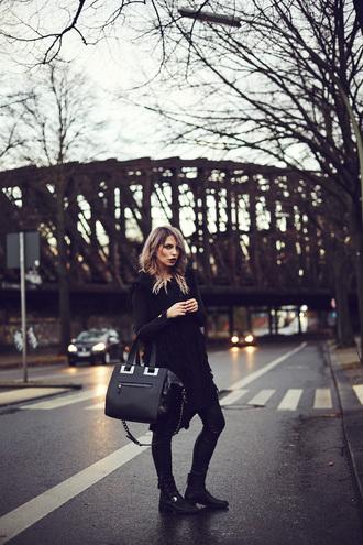 masha sedgwick blogger bag cardigan pants maxi bag ankle boots