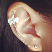 earrings,bow,white,jewelry,jewels,piercing,helix piercing