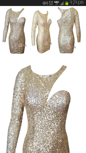 dress a dress sequins celebrity shoulder tight gold long sleeves short pink eve