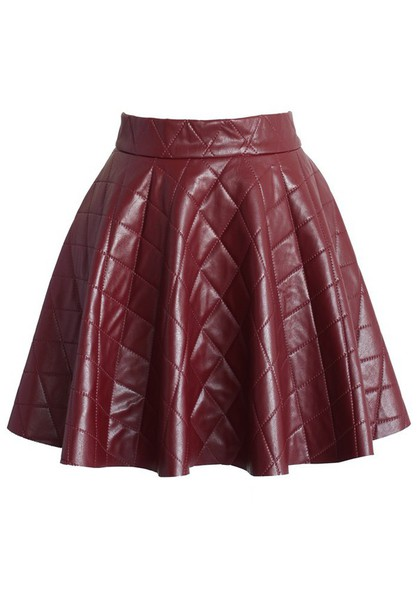 Skirt chicwish quilted faux leather skirt wine mini skater skirt fashion and chic - Wheretoget
