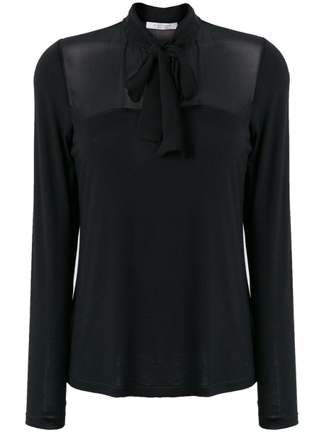 shirt bow women spandex black top